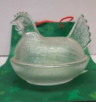 "Vintage Clear Indiana Glass Hen On Nest Candy Serving Dish 7""  Chicken 2-Piece"