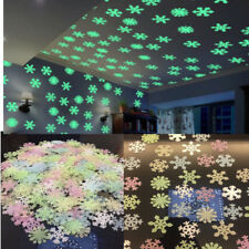 50pcs Glow In The Dark 3D Snowflake Stickers Christams Bedroom Wall DIY Decor