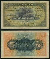 1948 National Bank of Egypt 25 Piastres P #10d Leith-Ross Signature VF+