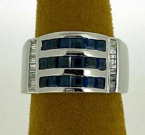 Men's Ring Engagement & Wedding Channel Set Ring 14k White Gold 5.40 Ct Sapphire