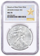 2016-(W) American Silver Eagle NGC MS70 West Point Gold Star Label SKU46856