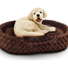 Pet Bed Cuddle Round X-Large Plush Dog-Cat(76+ lbs) Pillow Cover Microsuede Paw