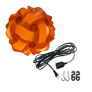 Orange Ceiling Pendant IQ Jigsaw Puzzle Lamp Shade Kit with 15 Feet Hanging Cord