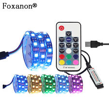 5050 SMD RGB 1M LED Strip USB DC 5V Light Bar TV Back Lights Lamp Kit+RF Remote