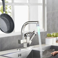 Brushed Nickel LED Kitchen Faucet Sink Pull Out Sprayer Swivel Mixer Tap w/Cover