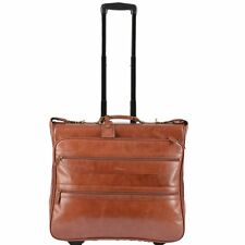 Ashwood Knightsbridge Brown Leather Wheeled Suit Carrier