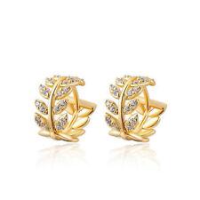 Women Fashion Crystal Leaf Huggie Hoop Earring Dangle Ear Studs Earring Jewelry