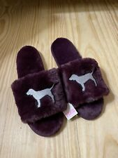 Victorias Secret Pink Slippers Furry Luscious Plum Purple Silver Dog Size 7 8