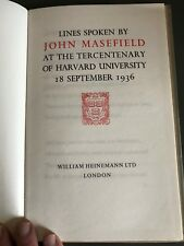 Lines Spoken by John Masefield. Harvard Univ. 1936. Signed Limited Edit. 71/150