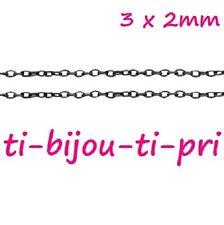 LOT DE 5m - 5 mètres CHAINES chainettes MAILLONS OVALS 3x2mm NOIR perles bijoux