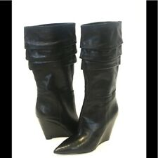 Nine West Black Wedge Boots Vernese Pointed Toe Tiered Leather NEW