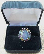 Sterling Silver black opal & semi-precious gemstone oval ring size 5 3/4