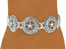 SILVER OPEN STAR CONCHO MEDALLION BRACELET w/ TOGGLE CLASP
