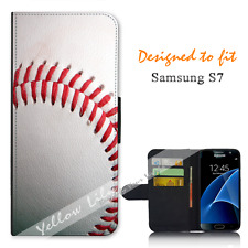 For Samsung Galaxy S7 Wallet Flip Phone Case Cover Real Baseball Y00779
