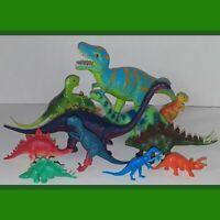 Vintage Dinosaur Plastic Toy Figures Lot Colorful Old Prehistoric Jurrasic T-Rex