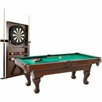 Barrington 90 Billiard Table w/ Dartboard Indoor Game Set Pool Cue Rack Storage