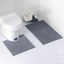 2pcs Bathroom Mat Set Non-slip Carpet Toilet Kitchen Rug Water Absorption Suede
