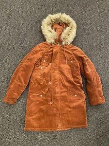 American Eagle Women's Corduroy Parka Jacket Coat Faux Fur Lined Hoodie Size S M