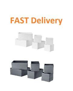 Ikea Skubb set of 6 drawer organiser storage boxes wardrobe 2 Colour Grey White