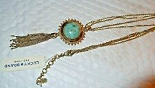 Lucky Brand Gold-Tone Beaded Reversible Stone Pendant Necklace / NWT MSRP $49