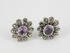 Sterling Silver Amethyst & Marcasite Earrings