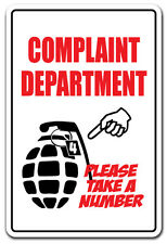 COMPLAINT DEPARTMENT TAKE A NUMBER Novelty Sign funny business customer service