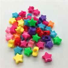 50pcs Mixed Colors STARS Acrylic Perforation Beads DIY Jewelry Making #76