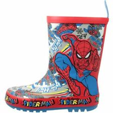 BOYS NEW SPIDER MAN WELLIES WELLY WELLINGTON MARVEL RAIN SNOW BOOTS SIZE 8 - 2
