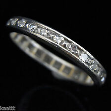 Vintage Diamonds & Platinum Eternity Wedding Band Ring Estate Mid Engagement