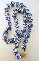 Vintage Chinese Blue & White Porcelain hand painted flowers Beads Necklace