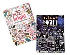 Merry & Bright Silent Night Adult Coloring Books Holiday Christmas Book Set of 2