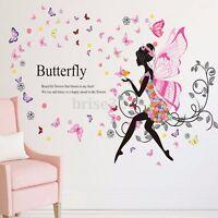 Flower  Fairy Butterfly Wing Girl Wall Sticker Vinyl Decal Room Home Mural Decor