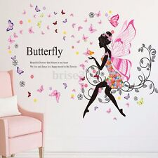 Flower  Fairy Butterfly Wing Girl Wall Sticker Vinyl Decal Room Home Mural Decor