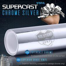"""Silver Supercast Flex Stretch Mirror Chrome Vinyl Wrap Bubble Free 12"""" x 60"""" In"""