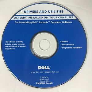 Dell Latitude Drivers & Utilities CD Reinstallation Disk Software 2006 P/N ND630