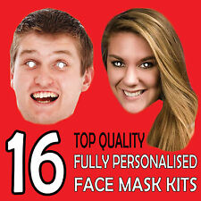 16 PERSONALISED CUSTOM FACE MASK KITS SEND A PICTURE PHOTO AND WE WILL PRINT w