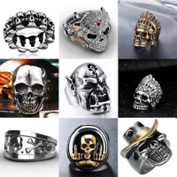 Souvenir Cool Men Alloy Gothic Punk Skull Head Boy Biker Finger Ring