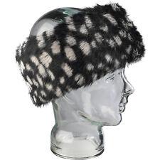 Ladies Faux Fur Winter Head Band Black/White