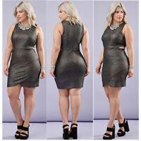 FOREVER 21 + PLUS CURVE Women's size XL Metallic Cocktail Party Dress Cutouts
