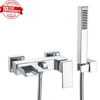 Wall Mounted Bath Shower Mixer Tap Waterfall Cascade Open Spout Modern Square