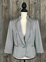 White House Black Market Womens Blazer Button Stretchy Grey Career 14 Runs Small