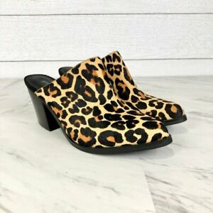 Jeffrey Campbell Favela Genuine Calf Hair Mules Slip On Heels Size 6.5 NWOB