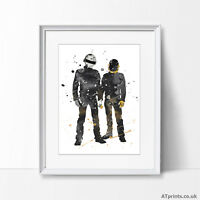 Daft Punk Print Poster Watercolour Framed Canvas Wall Art Gift Music Gift
