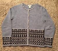 Women's Talbots Blue/White 100% Lambs Wool Cardigan Sweater, Size Small