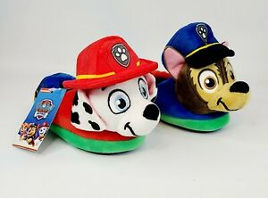 Nickelodeon Paw Patrol Plush Toddler Slippers Chase Marshall, 5-6, 7-8, 9-10 NEW