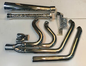 Harley Softail Tommy Gun 2'' Exhaust Pipes Chrome 2-into-1 Santee 1986^