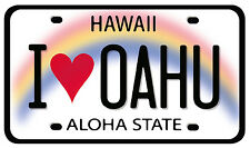 Car Window Bumper Sticker - Hawaiian Art Decal - I Love Oahu License Plate