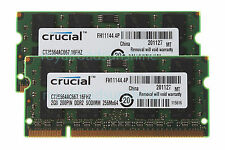 Crucial 4GB 2X 2GB 2RX8 DDR2 667MHz PC2-5300S 1.8V SO-DIMM Non-ECC Laptop Memory