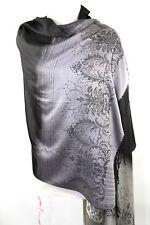 B59 Pashmina Black Silver Brocade Print Reversible Dress Shawl Scarf Wrap