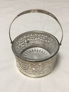 VINTAGE CANDY DISH SILVER PLATED WITH GLASS INSERT